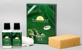 Pflegemittel für Lederkoffer - Eine Nahaufnahme von Lebensmitteln - Lederpflege